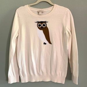 Ann Taylor LOFT Owl Cream Long Sleeve Sweater